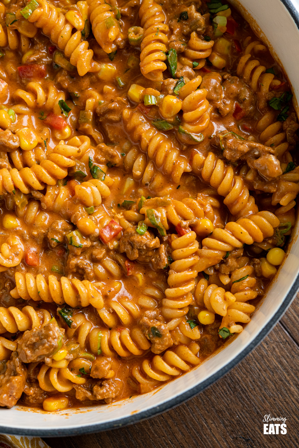 close up of One Pot Taco Beef Pasta in skillet