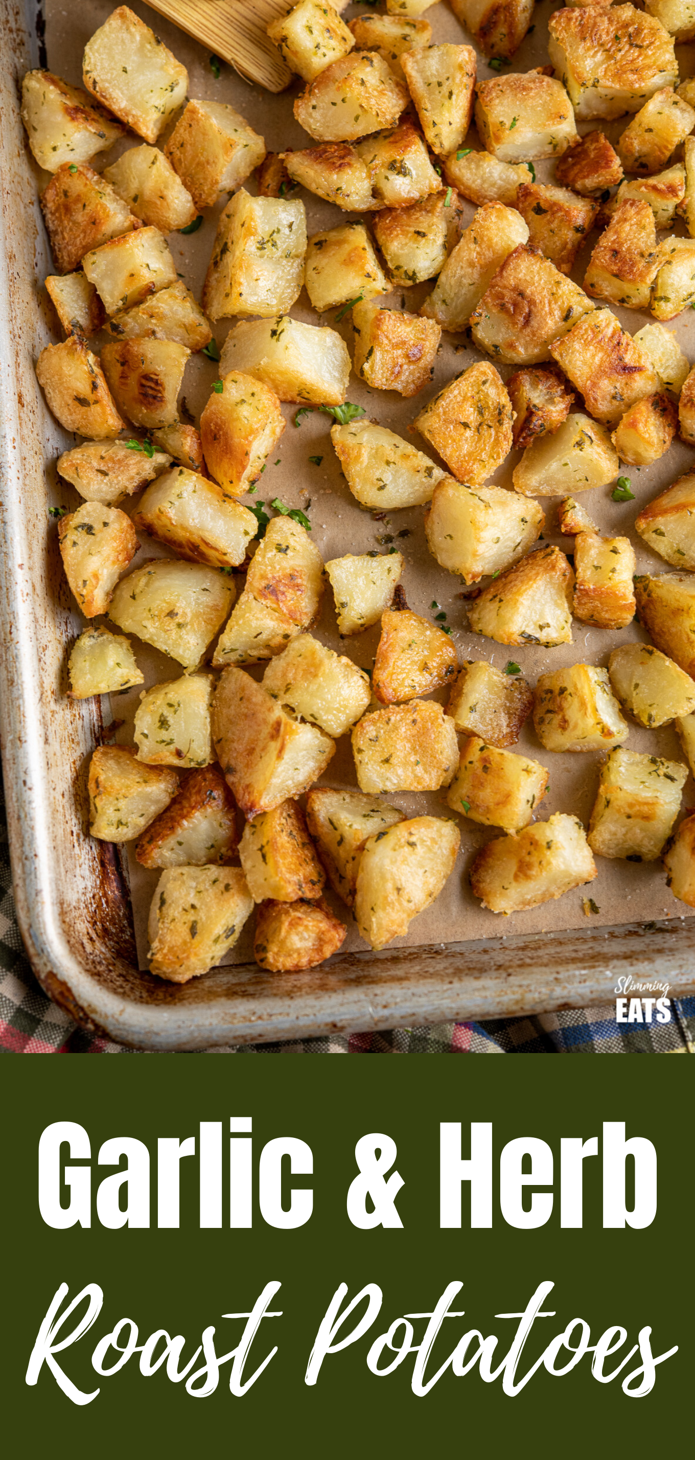 garlic and herb and roast potatoes featured pin