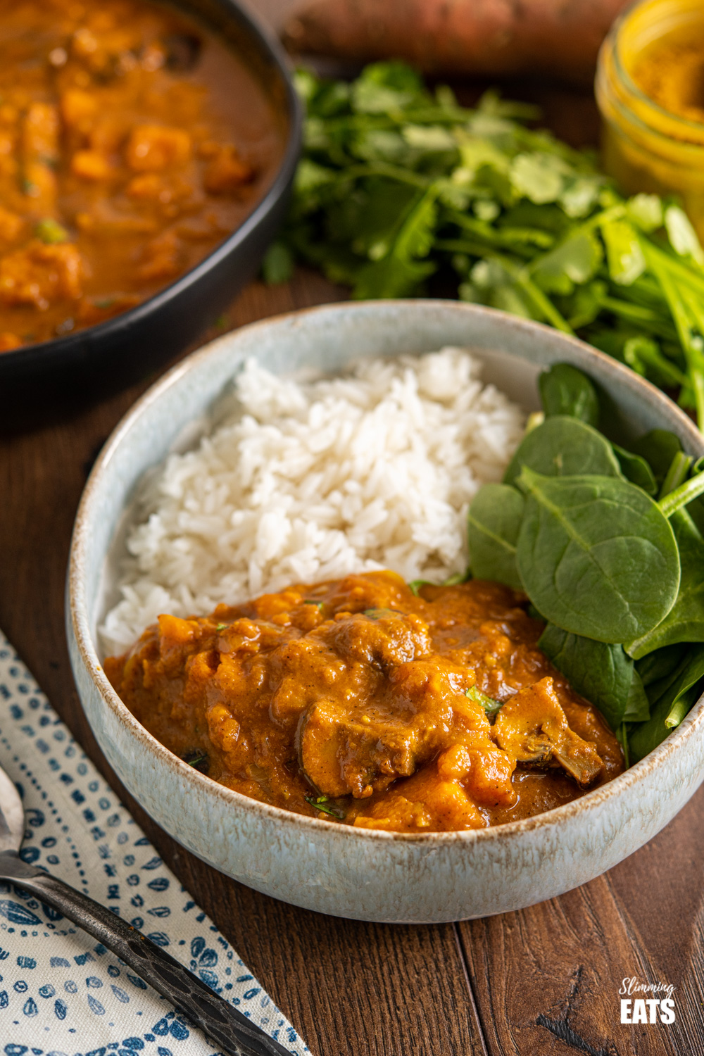 sweet potato and lentil curry in a bowl with rice and spinach