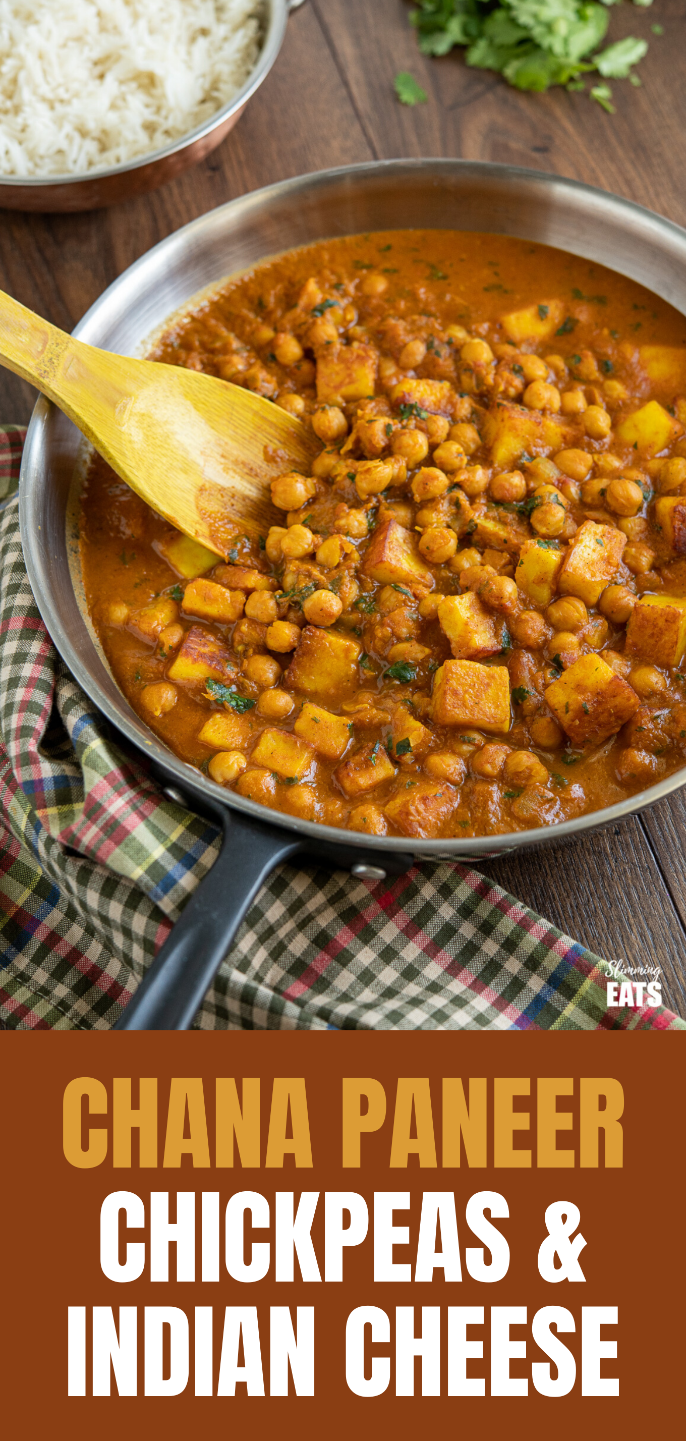 Chana Paneer in frying pan with black handle and wooden spoon featured pin image