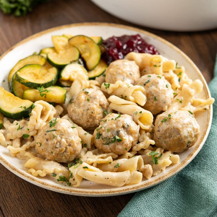 One Pot Turkey Swedish Meatball Pasta