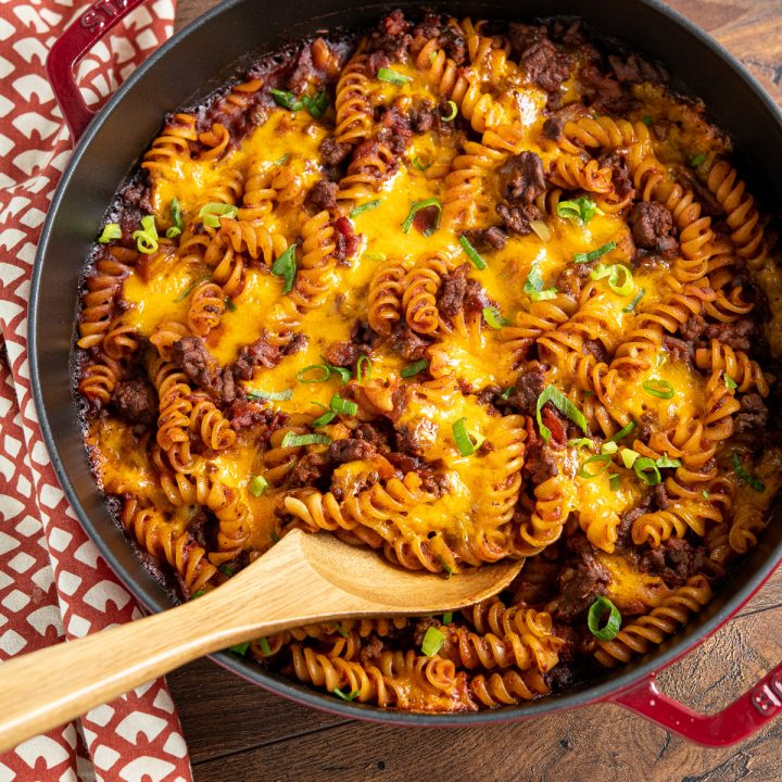 BBQ Bacon Cheeseburger Pasta Bake