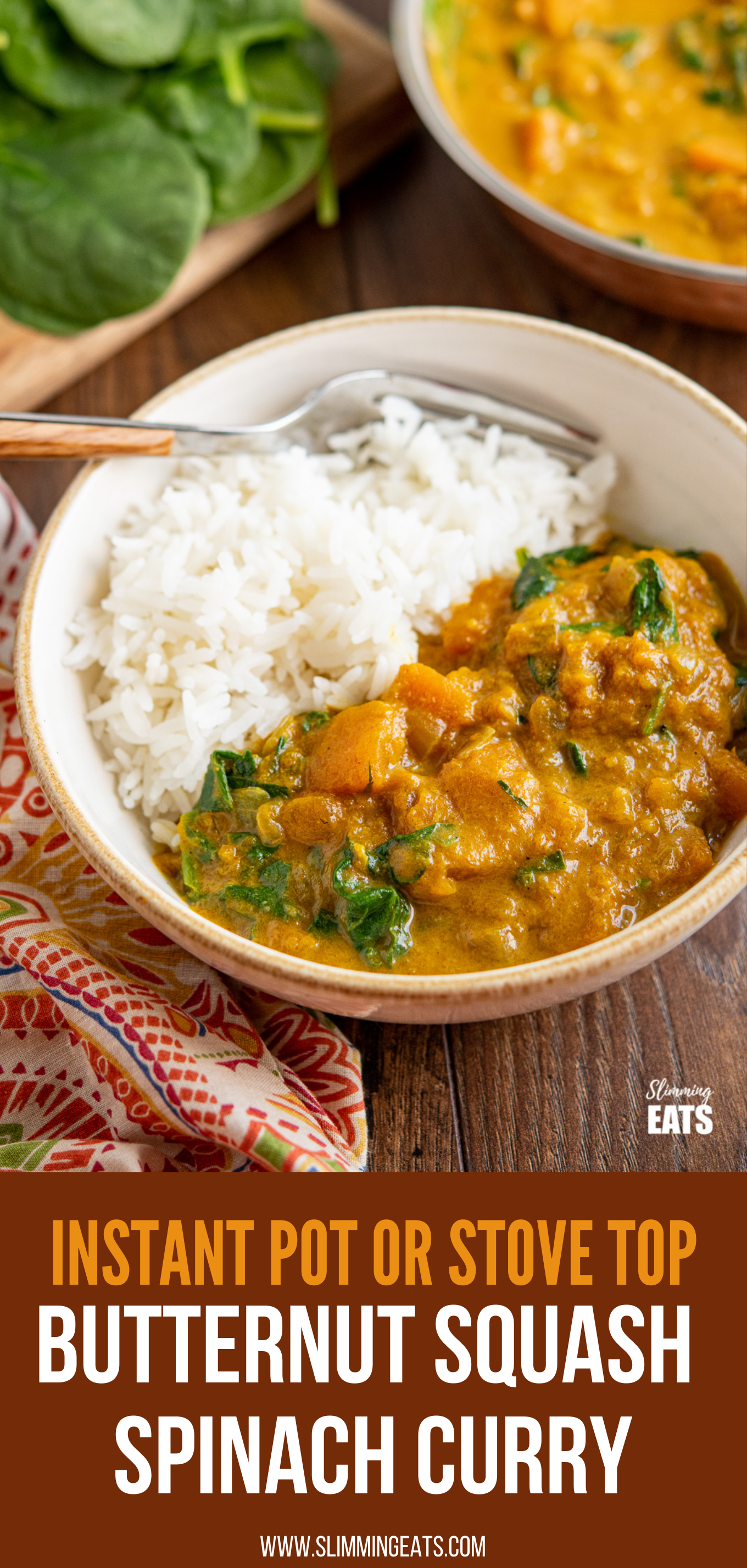 Easy Butternut Squash Curry with Spinach in a white bowl with rice pin image
