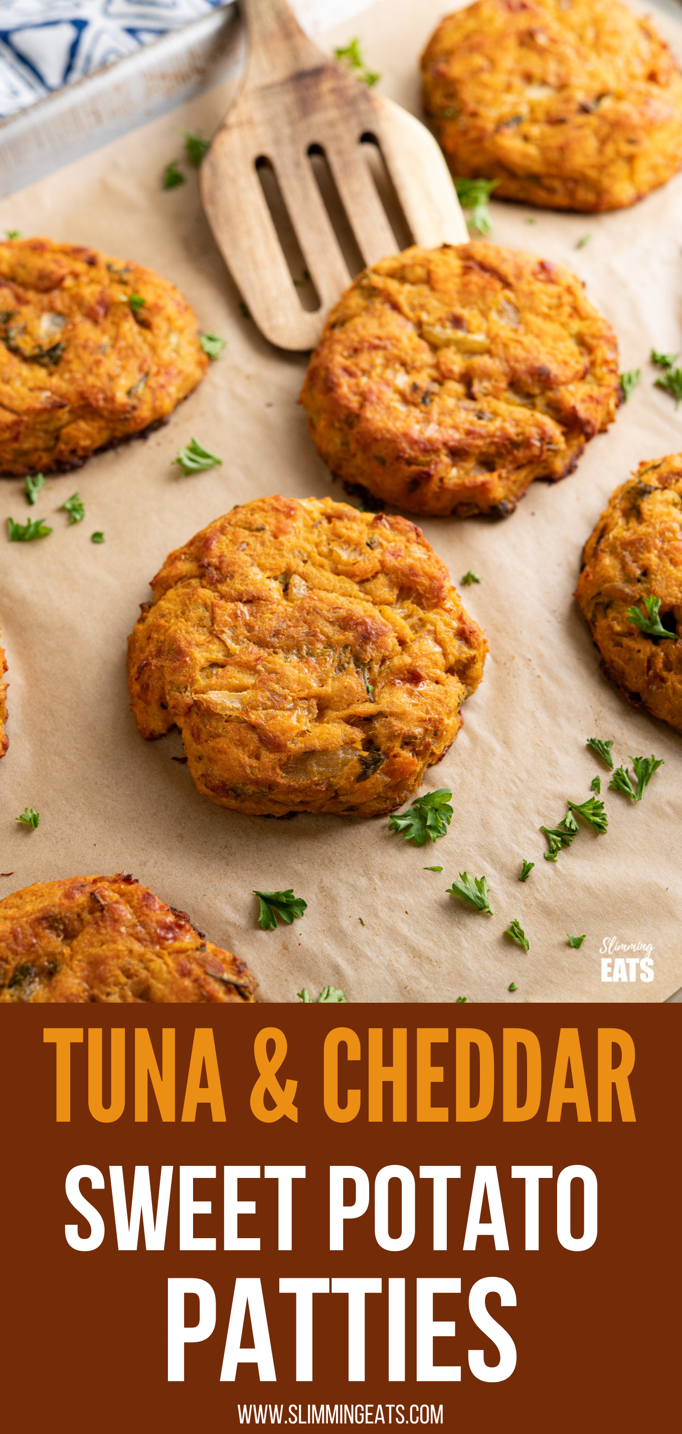 Tuna Sweet Potato Cheddar Patties on parchment lined baking tray pin image