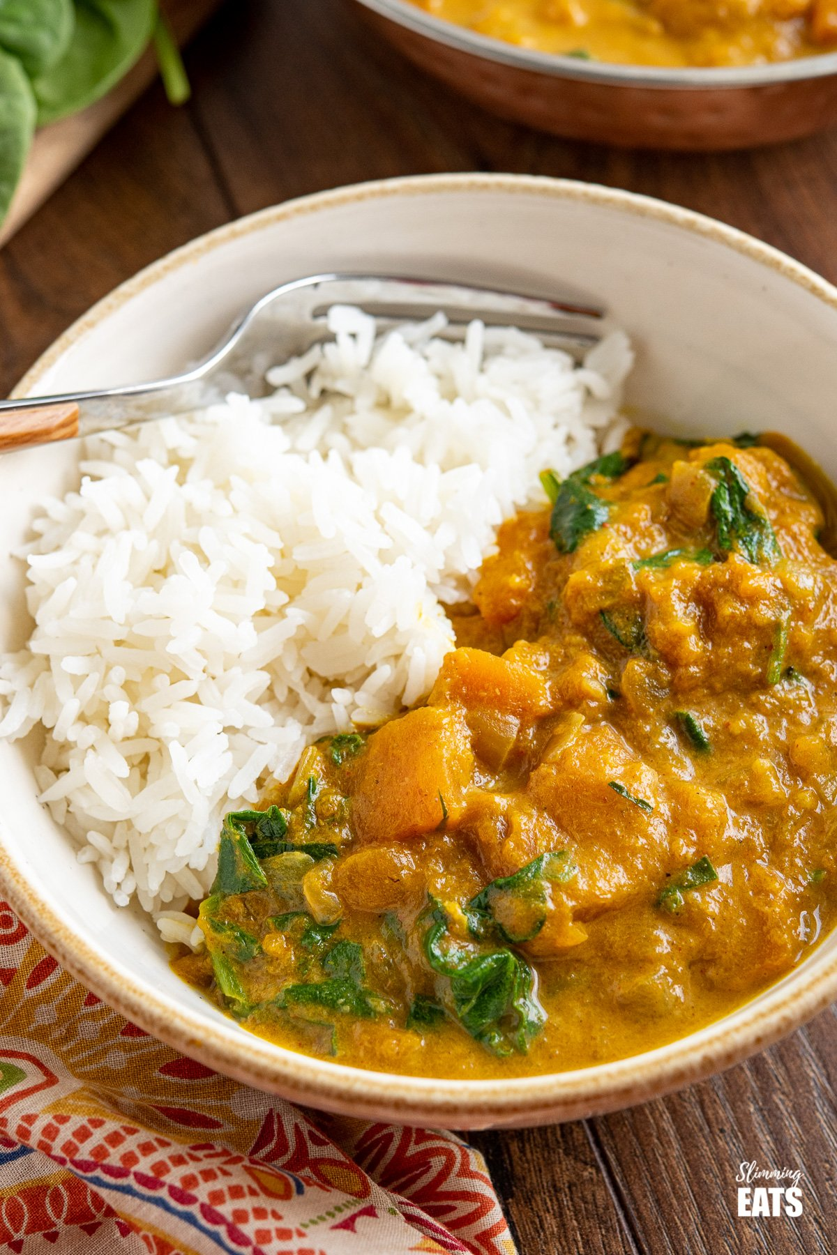 close up of Easy Butternut Squash Curry with Spinach in a white bowl with rice