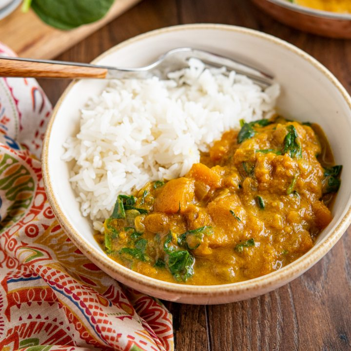 Easy Butternut Squash Curry with Spinach