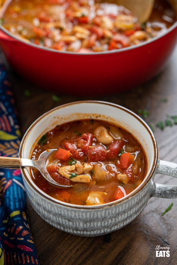chicken, tomato and white bean soup in a grey and brown mug with cast iron pot of soup in background
