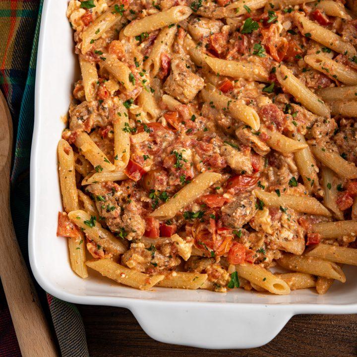 Baked Feta Pasta with Chicken - TikTok Recipe
