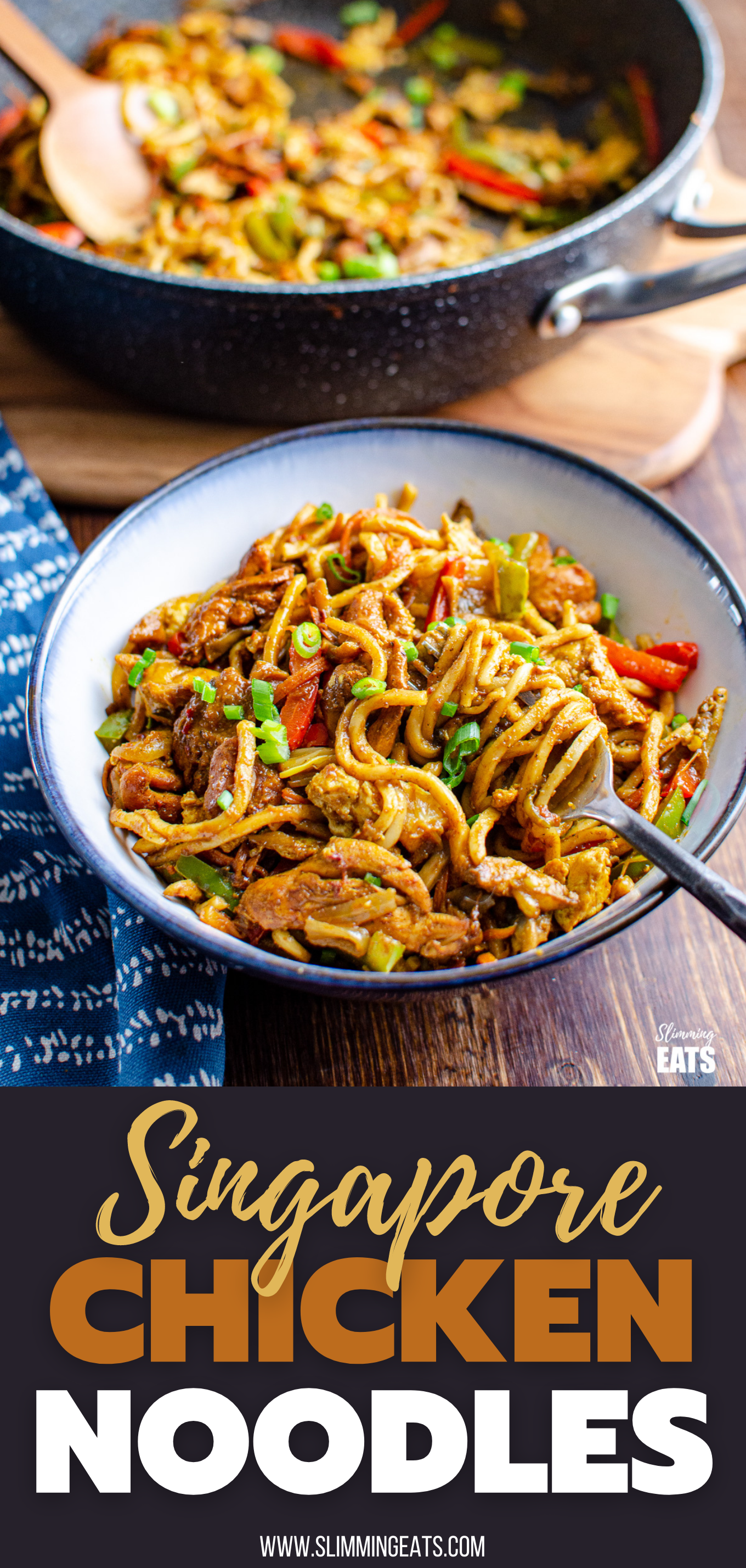 Delicious Singapore Chicken Noodles in a blue rimmed bowl with black handled metal fork