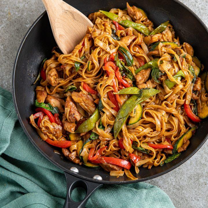 Drunken Chicken Noodles (Pad Kee Mao)