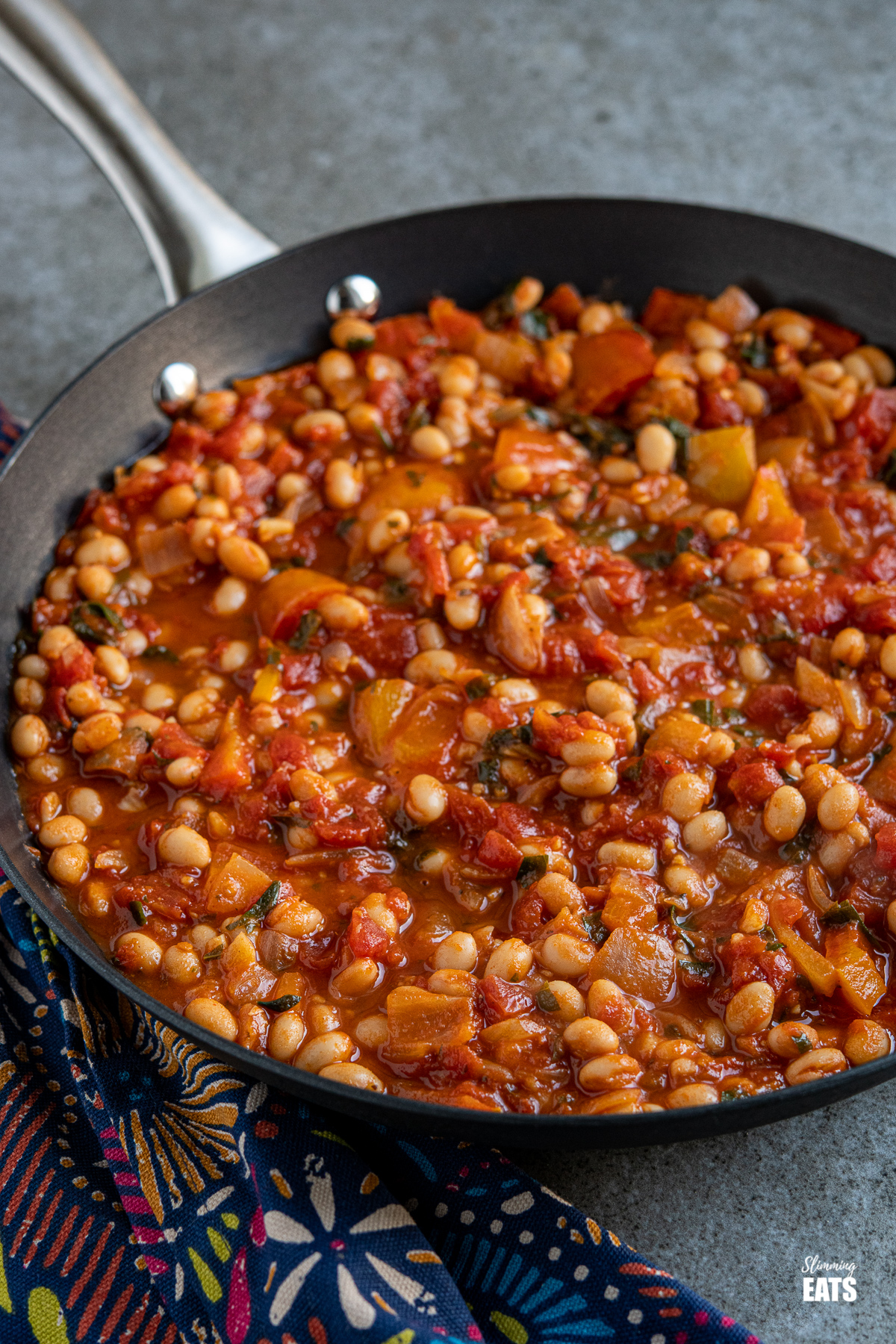 Tomatoes and White Beans in a black frying pan