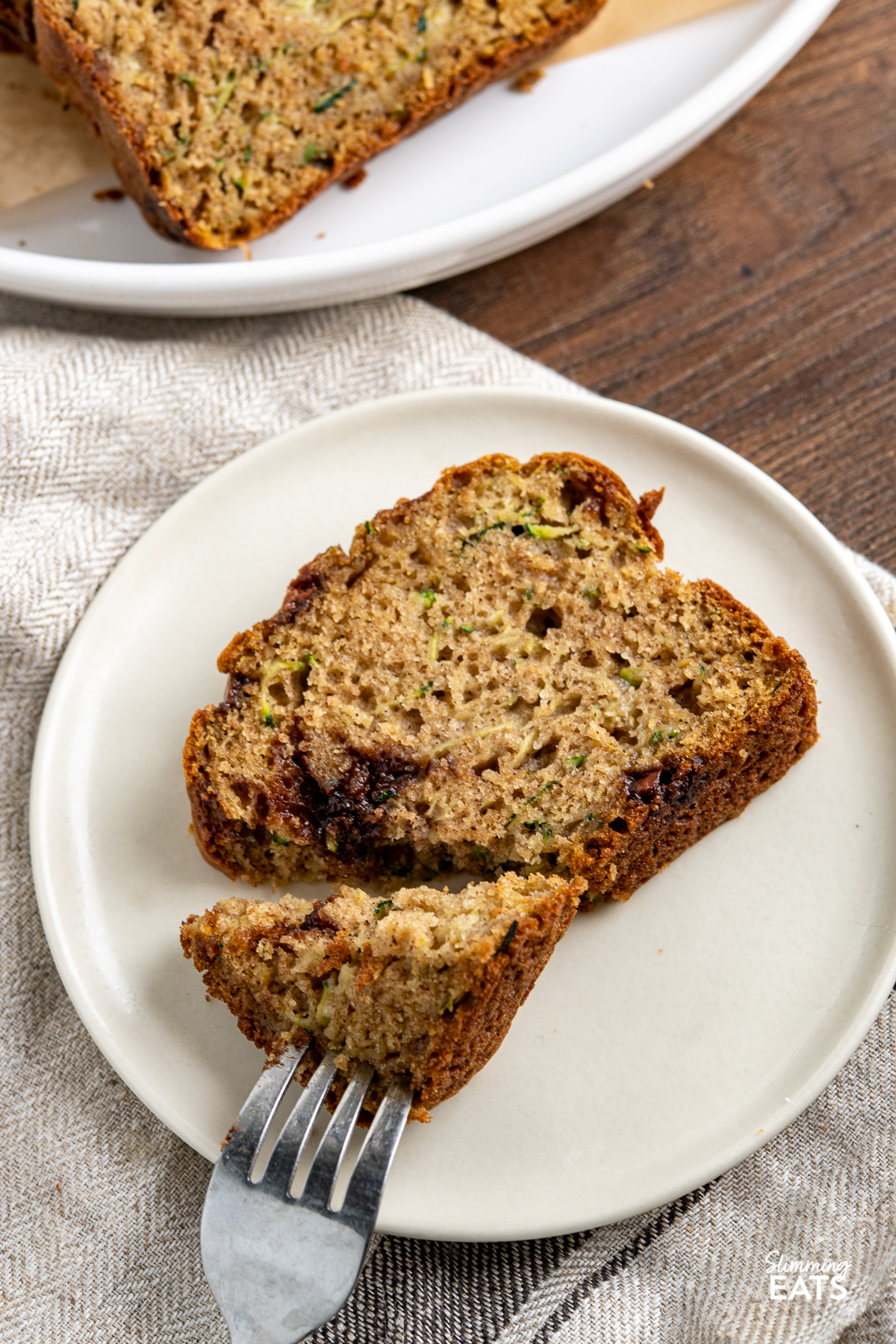 slice of Chocolate Chip Zucchini Bread on white plate