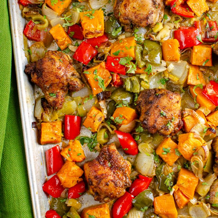 Moroccan Chicken with Roasted Sweet Potato Tray Bake